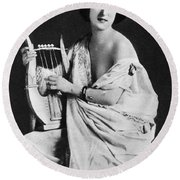 Nude As Ancient Lyrist Round Beach Towel