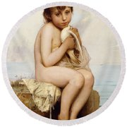 Nude Child With Dove Round Beach Towel