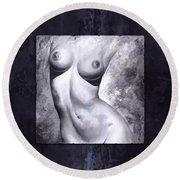 Nude Details - Digital Color Version Frame Blue Round Beach Towel