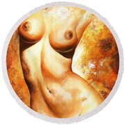 Nude Details Round Beach Towel by Emerico Imre Toth