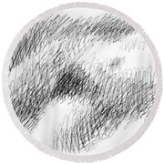 Nude Female Abstract Drawings 1 Round Beach Towel