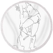 Nude Female Drawings 1 Round Beach Towel