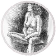 Nude Female Sketches 2 Round Beach Towel