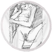 Nude Female Sketches 4 Round Beach Towel