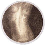 Nude Female Torso Drawings 5 Round Beach Towel