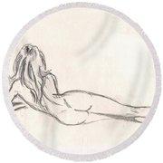 Nude Figure Drawing Round Beach Towel
