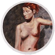 Nude French Woman Round Beach Towel by Shelley Irish