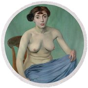 Nude In Blue Fabric, 1912 Round Beach Towel