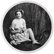 Nude In Field, C1850 Round Beach Towel