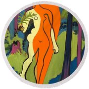 Nude In Orange And Yellow Round Beach Towel