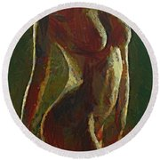 Nude In The Green Round Beach Towel