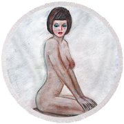 Nude In The White Room Round Beach Towel