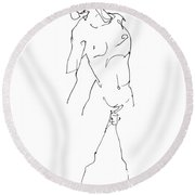 Nude-male-drawing-11 Round Beach Towel