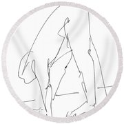 Nude Male Drawings 32 Round Beach Towel