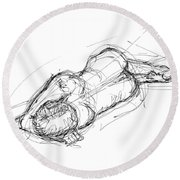 Nude Male Sketches 4 Round Beach Towel