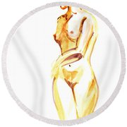 Nude Model Gesture II Round Beach Towel