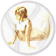 Nude Model Gesture Iv Round Beach Towel