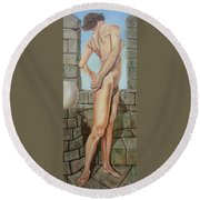 Nude On A Rampart Round Beach Towel