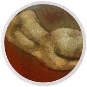 Nude On A Red Round Beach Towel