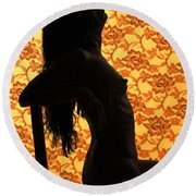 Nude On Chair Color Round Beach Towel