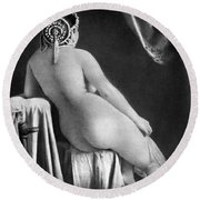 Nude Posing: Rear View Round Beach Towel