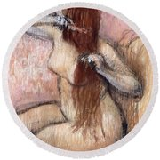 Nude Seated Woman Arranging Her Hair Femme Nu Assise Se Coiffant Round Beach Towel