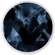 Nude Silhouette In Moonlight Round Beach Towel