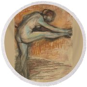Nude Study For A Dancer At The Bar Round Beach Towel