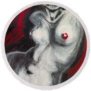 Nude Torso And Red Lips Round Beach Towel