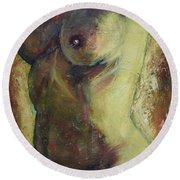 Nude Female Torso Round Beach Towel