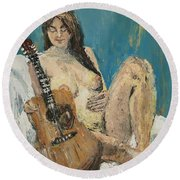 Nude With Guitar Round Beach Towel