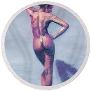 Nude Woman In Finger Strokes Round Beach Towel by Shelley Irish