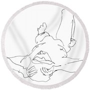 Nude_male_drawings-22 Round Beach Towel