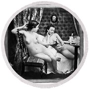 Nudes Having Tea, C1850 Round Beach Towel