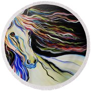 Nuella Horse With The White Shoulder Round Beach Towel