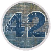 Number 42 Round Beach Towel by Michelle Calkins
