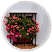 Number 9 - Geraniums In The Window Round Beach Towel