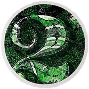 Number Two In Green  Round Beach Towel