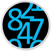 Numbers In Blue And Black Round Beach Towel
