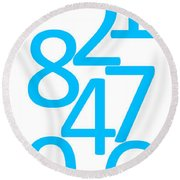 Numbers In Blue Round Beach Towel