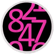 Numbers In Pink And Black Round Beach Towel