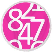 Numbers In Pink And White Round Beach Towel