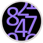 Numbers In Purple And Black Round Beach Towel