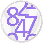 Numbers In Purple Round Beach Towel