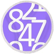Numbers In White And Purple Round Beach Towel