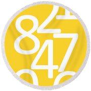Numbers In Yellow And White Round Beach Towel