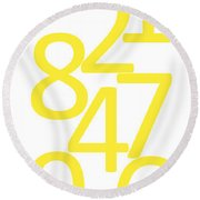 Numbers In Yellow Round Beach Towel