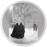 Nuns In Snow New York City 1946 Round Beach Towel