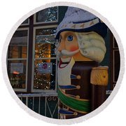 Nutcracker Statue In Downtown Grants Pass Round Beach Towel