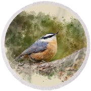 Nuthatch Watercolor Art Round Beach Towel